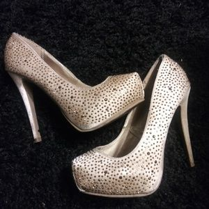 Gold heels with bling by Forever 21